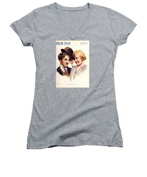 Film Fun Classic Comedy Magazine Featuring Charlie Chaplin And Girl 1916 Women's V-Neck