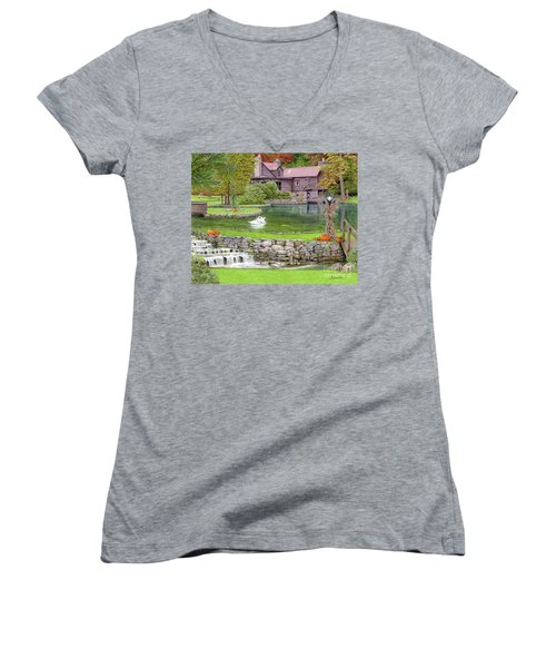 Women's V-Neck T-Shirt (Junior Cut) featuring the drawing Fin N Feather At Seven Springs by Albert Puskaric