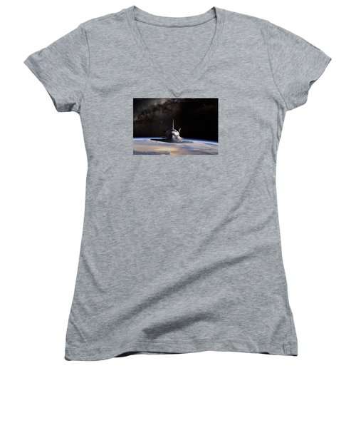 Final Frontier Women's V-Neck T-Shirt (Junior Cut) by Peter Chilelli