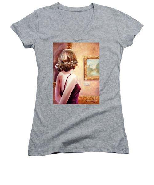 Fine Art Gallery Opening Night Women's V-Neck T-Shirt (Junior Cut) by Michael Rock