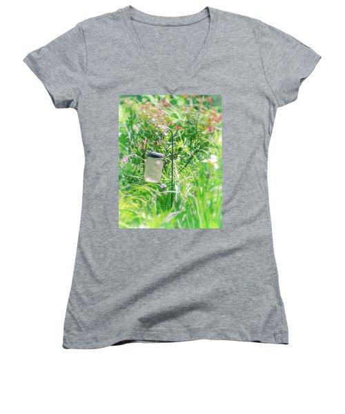 Women's V-Neck T-Shirt (Junior Cut) featuring the photograph Fine Creek No. 1 by Laura DAddona