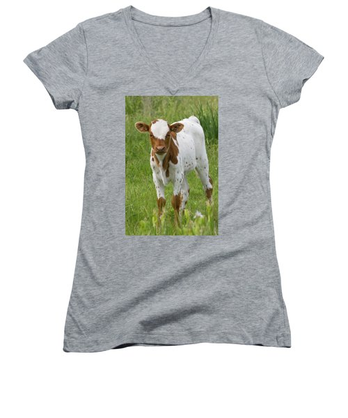 Fine Looking Longhorn Calf Women's V-Neck