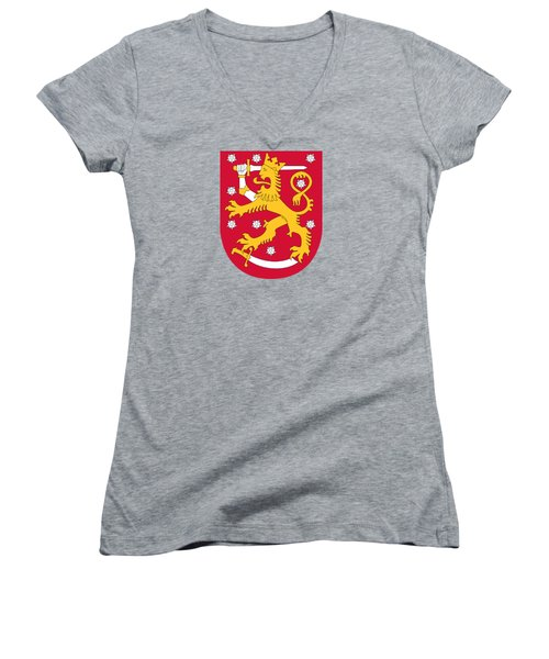 Women's V-Neck T-Shirt (Junior Cut) featuring the drawing Finland Coat Of Arms by Movie Poster Prints