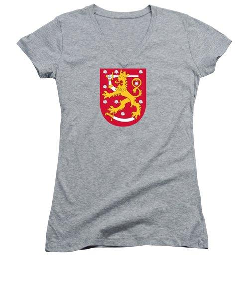 Finland Coat Of Arms Women's V-Neck T-Shirt (Junior Cut)
