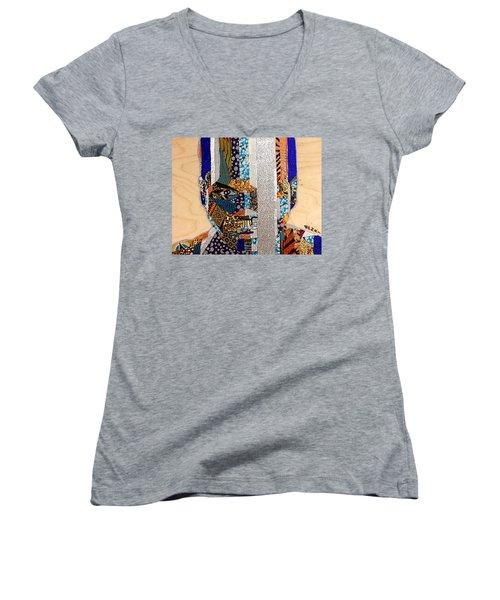 Women's V-Neck T-Shirt (Junior Cut) featuring the tapestry - textile Finn Star Wars Awakens Afrofuturist  by Apanaki Temitayo M