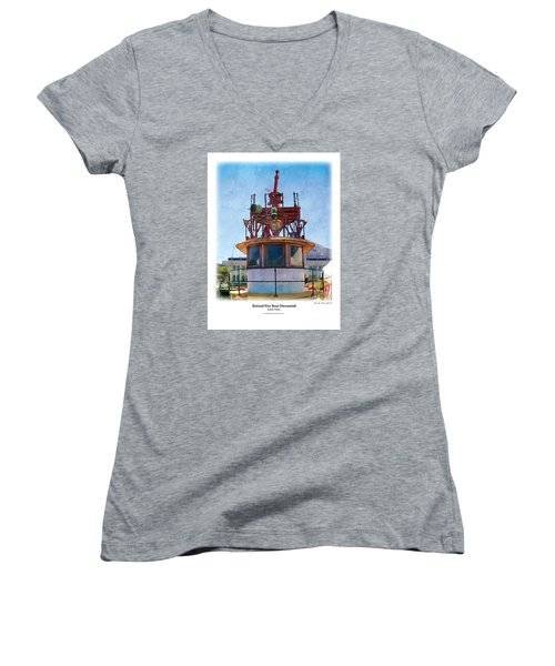 Women's V-Neck T-Shirt (Junior Cut) featuring the painting Fire Boat by Kenneth De Tore