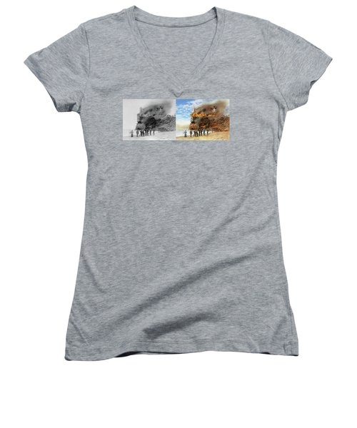 Women's V-Neck T-Shirt (Junior Cut) featuring the photograph Fire - Cliffside Fire 1907 - Side By Side by Mike Savad