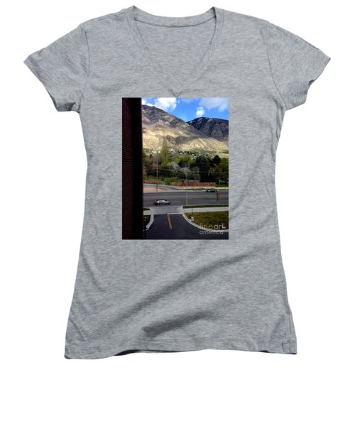 Fire Hydrant Guarding The Byu Y Women's V-Neck T-Shirt (Junior Cut) by Richard W Linford