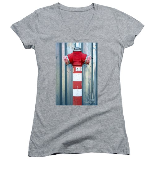 Fire Hydrant Steel Wall Women's V-Neck (Athletic Fit)