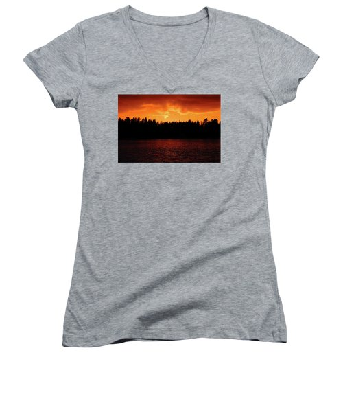 Fire In The Sky Women's V-Neck T-Shirt (Junior Cut) by Teemu Tretjakov