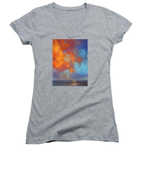 Fire In The Sky Women's V-Neck T-Shirt (Junior Cut) by Vivien Rhyan