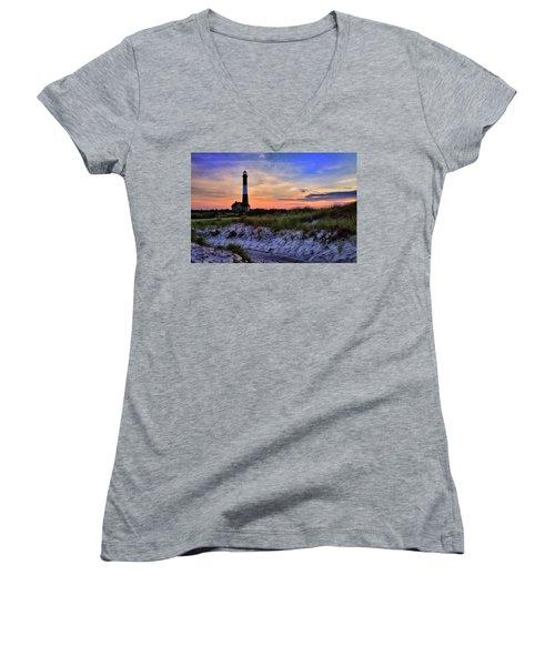 Fire Island Lighthouse Women's V-Neck T-Shirt (Junior Cut) by Rick Berk