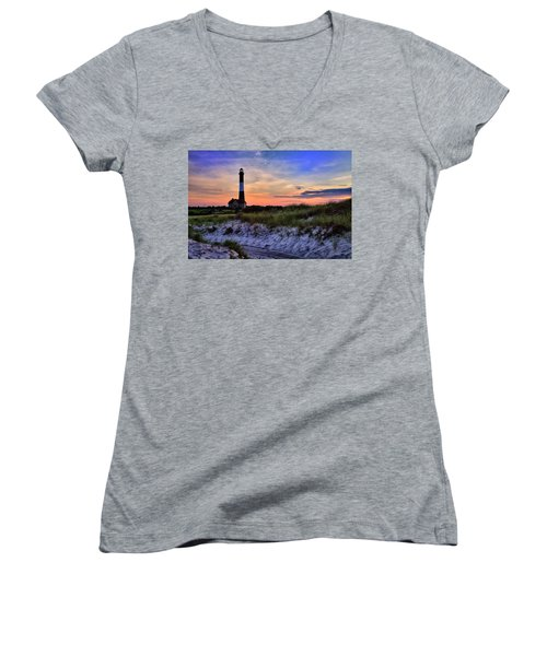 Fire Island Lighthouse Women's V-Neck (Athletic Fit)