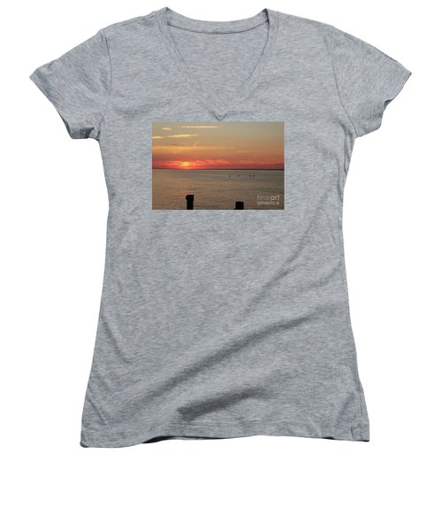 Fire Island Sunset Women's V-Neck (Athletic Fit)