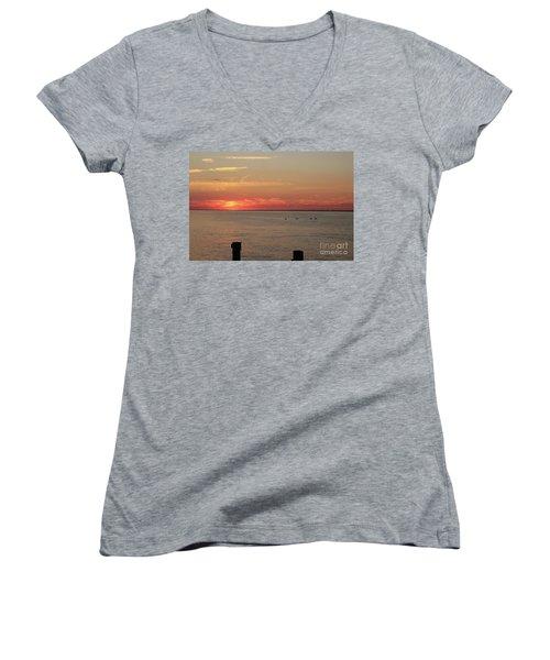 Fire Island Sunset Women's V-Neck T-Shirt (Junior Cut)