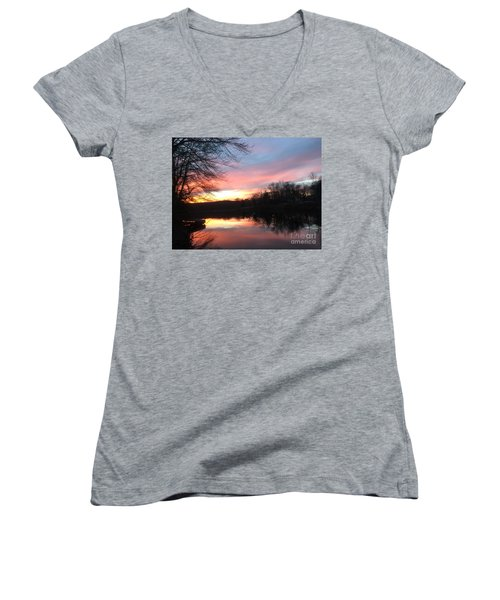Fire On The Water Women's V-Neck T-Shirt (Junior Cut) by Jason Nicholas