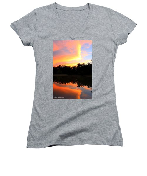 Fire On The Water Women's V-Neck T-Shirt