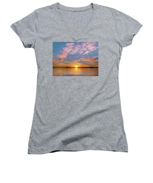 Fire Sunset On Humboldt Bay Women's V-Neck T-Shirt