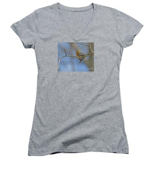 Fire Throat... Women's V-Neck T-Shirt (Junior Cut) by Nina Stavlund