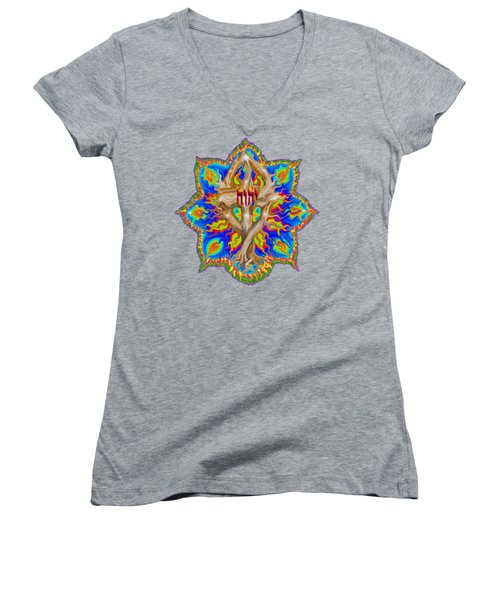 Women's V-Neck featuring the painting Fire Tree With Yhwh by Hidden Mountain
