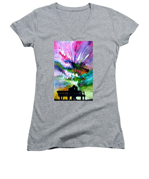 Fire Works In The Park Women's V-Neck (Athletic Fit)