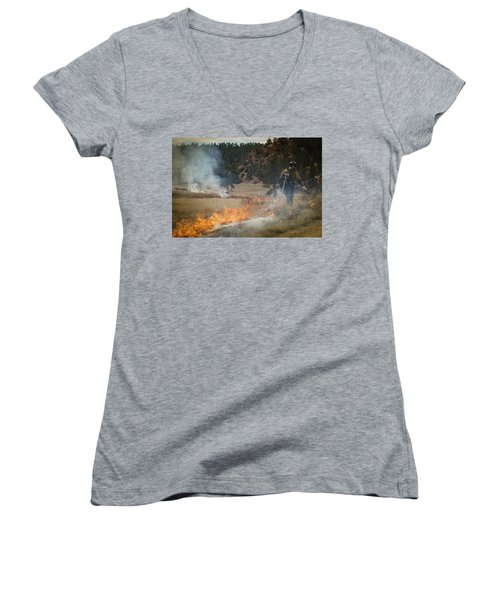 Women's V-Neck featuring the photograph Firefighter Ignites The Pleasant Valley Prescribed Fire by Bill Gabbert