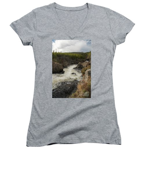 Firehole River Cascade Women's V-Neck T-Shirt (Junior Cut) by Cindy Murphy - NightVisions