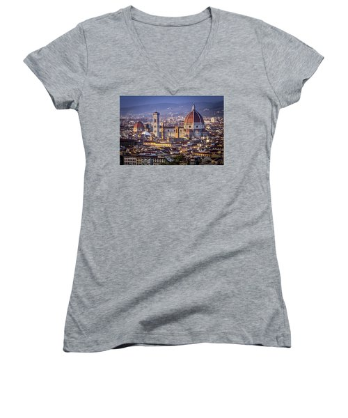 Women's V-Neck T-Shirt (Junior Cut) featuring the photograph Firenze E Il Duomo by Sonny Marcyan