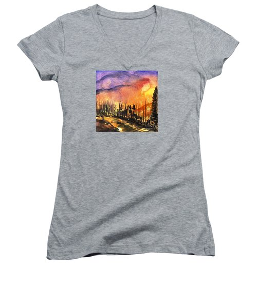 Fires In Our Mountains Tonight Women's V-Neck T-Shirt (Junior Cut) by Randy Sprout
