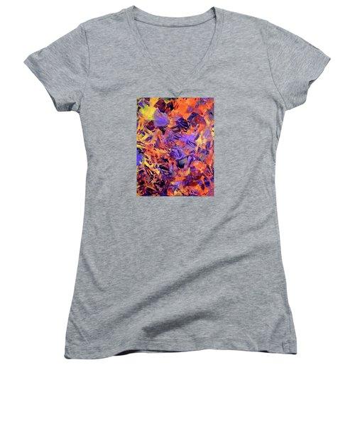 Women's V-Neck T-Shirt (Junior Cut) featuring the photograph Firestorm by Lynda Lehmann