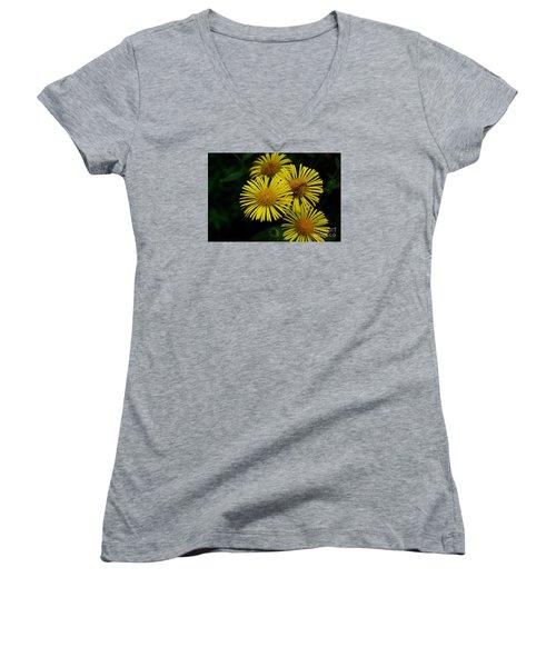 Fireworks In Yellow Women's V-Neck T-Shirt (Junior Cut) by John S