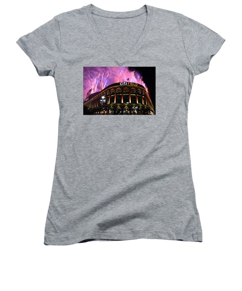 Fireworks Night At Citifield Women's V-Neck T-Shirt (Junior Cut) by James Kirkikis