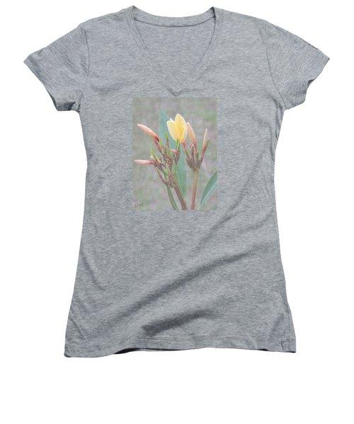 First Bud Women's V-Neck T-Shirt (Junior Cut) by Rosalie Scanlon