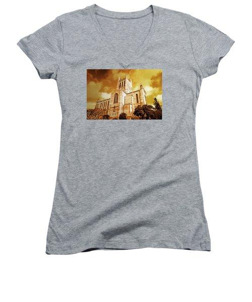 First Congregational Church  Women's V-Neck T-Shirt