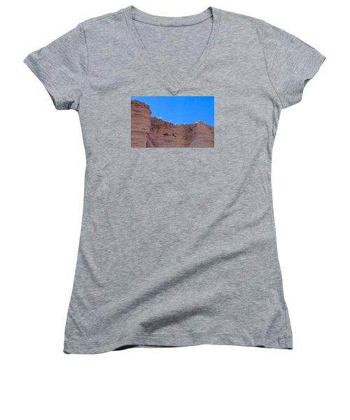 Women's V-Neck T-Shirt (Junior Cut) featuring the photograph First Date by Brenda Pressnall