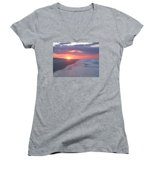 Women's V-Neck T-Shirt (Junior Cut) featuring the photograph First Daylight by Newwwman