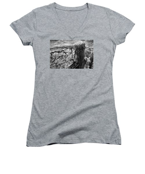 Women's V-Neck featuring the photograph First Frost by Ron Cline