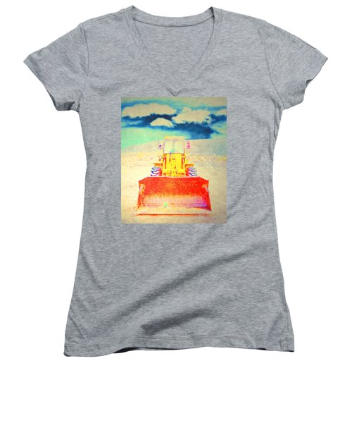 First In  Women's V-Neck T-Shirt (Junior Cut) by Mark Ross