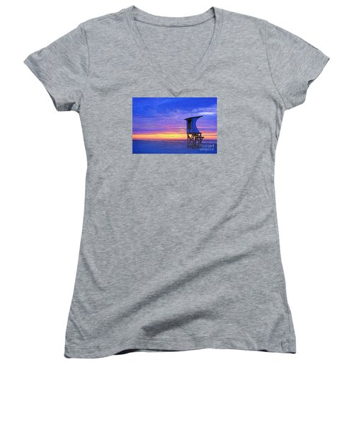 First Light On The Beach Women's V-Neck (Athletic Fit)