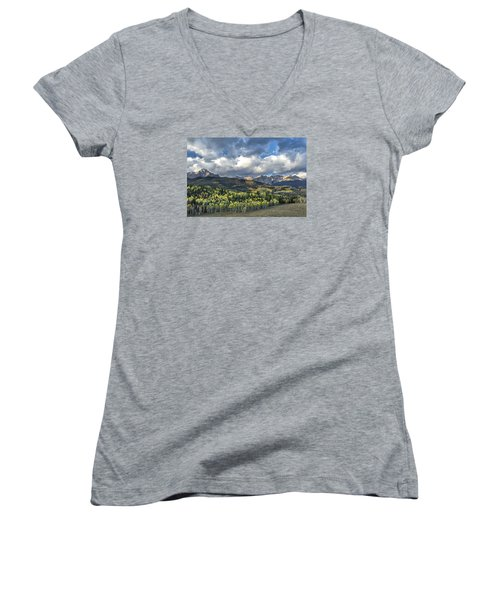 First Light On The Sneffels Range Women's V-Neck (Athletic Fit)