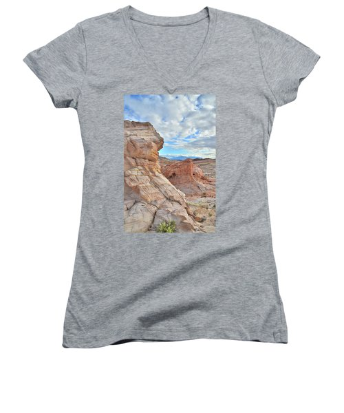 First Light On Valley Of Fire Women's V-Neck T-Shirt (Junior Cut) by Ray Mathis