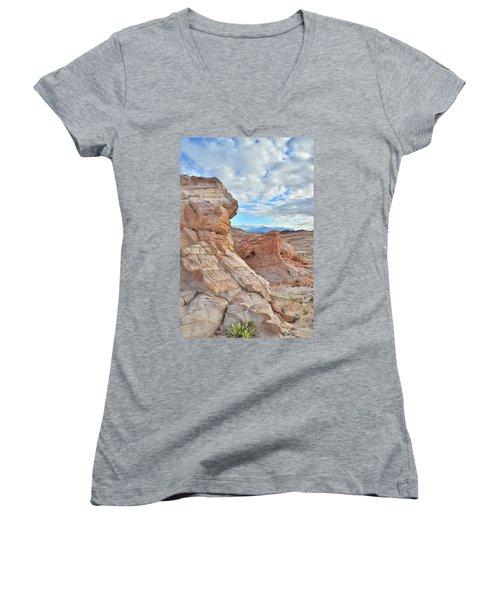 First Light On Valley Of Fire Women's V-Neck T-Shirt