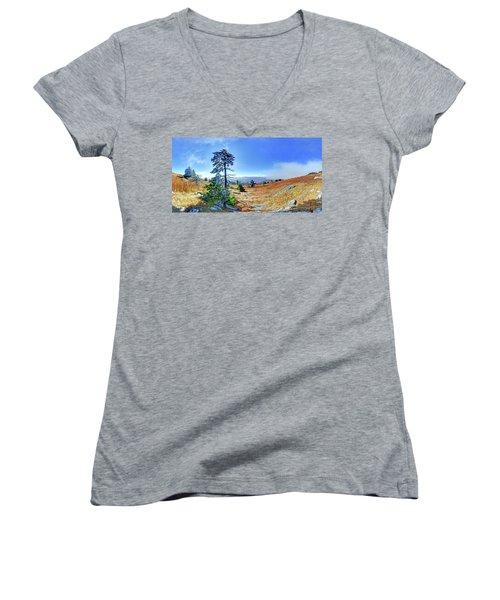 First Light Snow Women's V-Neck T-Shirt (Junior Cut) by George Randy Bass
