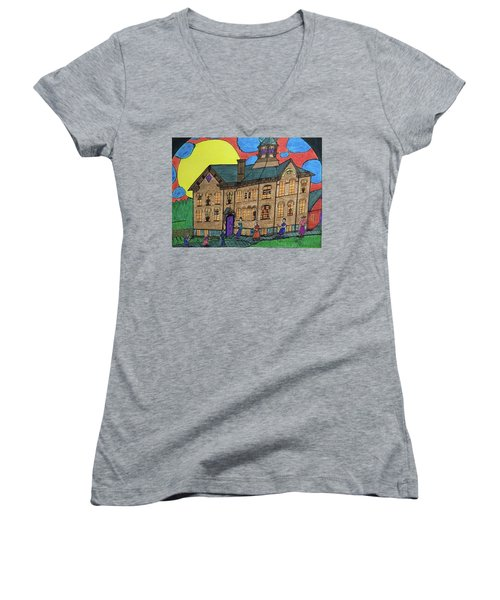 Women's V-Neck T-Shirt (Junior Cut) featuring the drawing First Menominee High School. by Jonathon Hansen