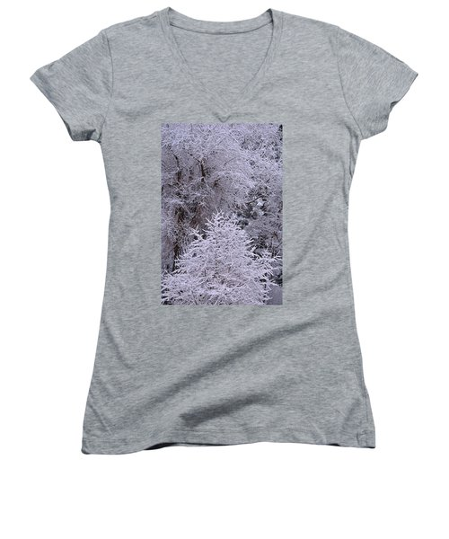 Women's V-Neck featuring the photograph First Snow I by Ron Cline