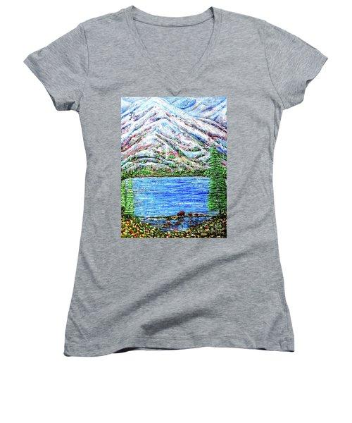 First Snow Women's V-Neck T-Shirt (Junior Cut) by Viktor Lazarev