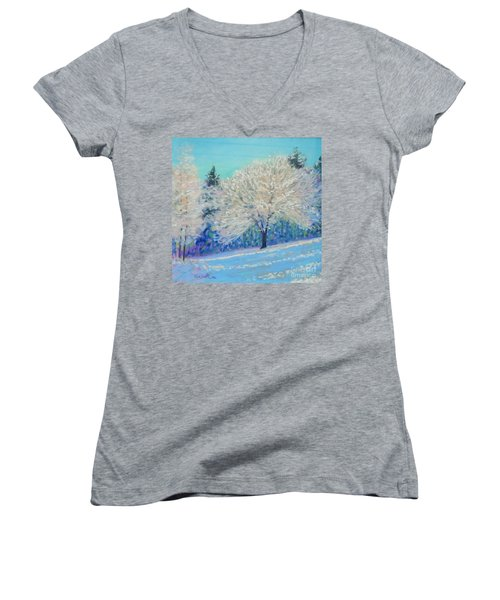 First Snowfall  Women's V-Neck T-Shirt (Junior Cut) by Rae  Smith PAC