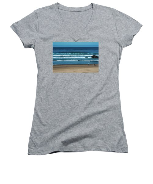 First Steps On The Sand Women's V-Neck (Athletic Fit)