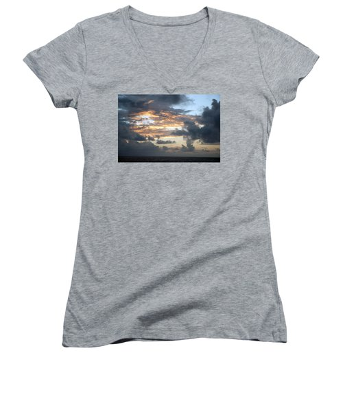 First Sunrise  Women's V-Neck T-Shirt (Junior Cut) by Allen Carroll