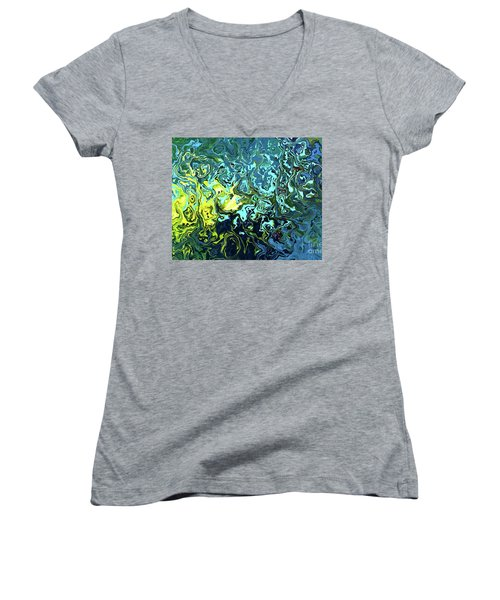 Fish Abstract Art Women's V-Neck T-Shirt (Junior Cut) by Annie Zeno